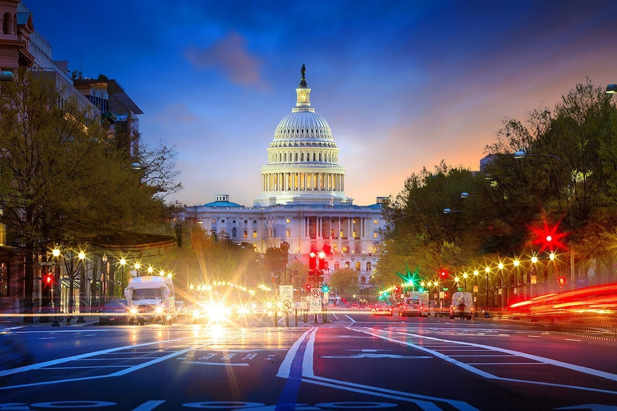 Long exposure photo of the Capitol building in Washington DC