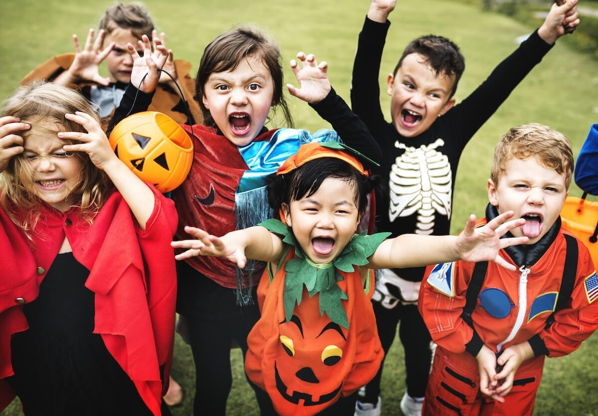 Kids making funny faces for Halloween