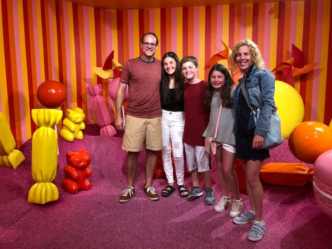Photo of family in a kids' room
