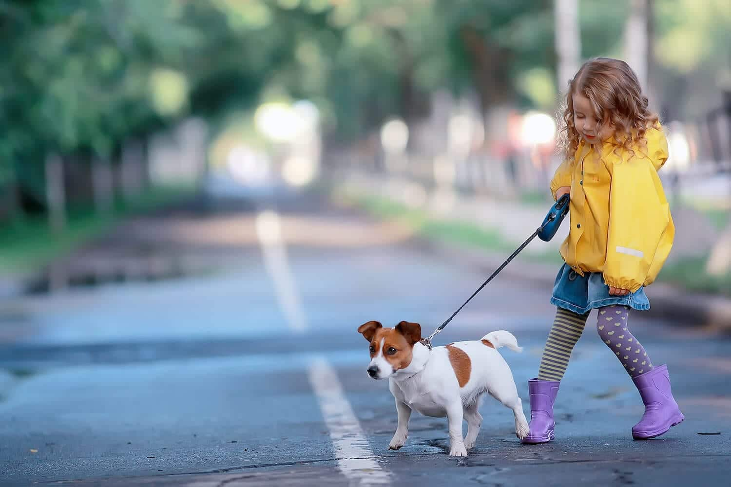 Little kid walking on the street with her dog